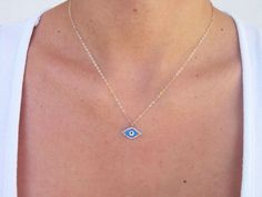 Dainty Evil Eye Minimalist Necklace Necklace by VasiaAccessories