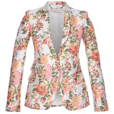 Stella McCartney 'Roman' jacquard floral jacket featuring polyvore women's fashion clothing outerwear jackets blazers coats tops colorful jackets floral blazer jacket long sleeve jacket flower print blazer jacquard blazer