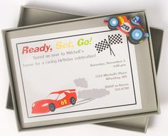 Race Car Birthday Invitation READY SET GO by whenandwhereinvites