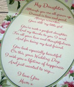 Mother Of The Bride Gift For Daughter Sentiments