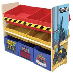 Organization is key on any construction site, and now with the Tonka 7 Bin Storage Shelf your kids will have a cool new way to put away their toys. Includes shelves and 7 storage bins. The 3 tiered storage shelf features a colorful Tonka construction scene. Red, yellow, and blue storage bins come in varying sizes to accomodate your child's toys, games, blocks, or anything else that needs organzing! A perfect addition to any child's bedroom or playroom.