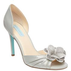 Betsey Johnson SB-Emma Heels ($60) ❤ liked on Polyvore featuring shoes, pumps, silver, betsey johnson, high heel court shoes, ankle strap pumps, synthetic shoes and betsey johnson shoes