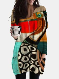 African Print Dress Prom, Cartoon Birds, Short Mini Dress, Plus Size Blouses, Bird Prints, Casual Fall, Printed Blouse, Clothes For Sale, Plus Size Fashion