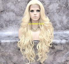 """36"""" Long Wavy Layered Bleach Blonde Full Lace Front Wig Heat Ok Hair Piece"""