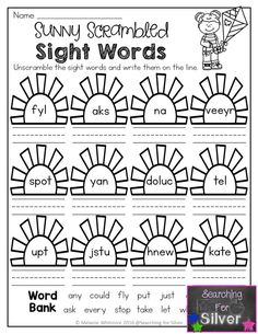 Sunny Scrambled Sight Words and other FUN and hands-on No-prep spring printables!