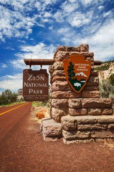 Entrance sign to Zion National Park - Utah