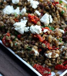 Mediterranean Lentil Salad by Elly Says Opa . I'm going to use the precooked lentils found at Trader Joe's Veggie Recipes, Great Recipes, Vegetarian Recipes, Favorite Recipes, Healthy Recipes, Special Recipes, Vegan Meals, Yummy Recipes, Yummy Food