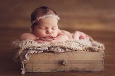 Newborn In A Drawer!headband made by me veronika G design-photography