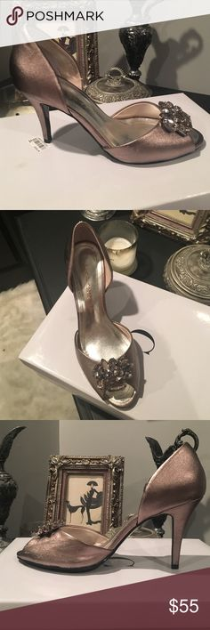 Caparro's Metallic Peep Toe Evening Shoes Mushroom metallic color, goes great with anything. Rhinestone front detail makes them really look expensive, Low heel so super comfy. Peep toe great for any season. Great for occasion dressing. Worn once for a wedding. Caparros Shoes Heels