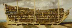 """""""Section Through a First-Rate, about 1690"""" attributed to Thomas Phillips (1701) at the National Maritime Museum, London - Although the image was drawn in the early 18th century, it is depicting a ship as it was in the late 17th century - so I'm pinning it here."""
