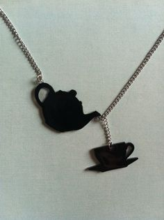 Charm Necklace Teapot and Teacup  Silhouette Necklace by PaperComposure on Etsy, $15.00