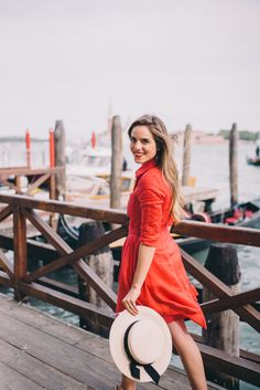 Gal Meets Glam A Day In Venice - Anthropologie dress and Eugenia Kim hat