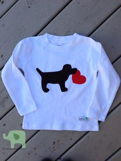 Boy's Valentine's Shirt Dog with Heart on Etsy, $18.50