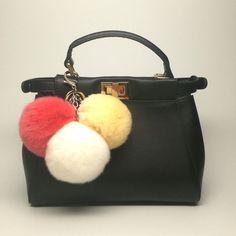 35.95$  Buy here - http://vioww.justgood.pw/vig/item.php?t=fmke3x55458 - Trio rabbit fur pom pom corsage Bag Charm Totem keychain Cream White Watermelon 35.95$