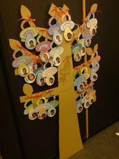Afscheidsboom verlof zwangere juf, foto en boodschapje van alle kinderen