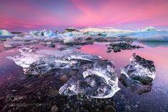 Jewels of Iceland by jarrodcastaing  sunrise winter beach travel snow pink ice glacier lagoon iceberg workshop iceland jokulsarlon jarrod
