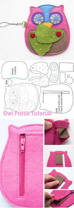 Felt Owl Purse Tutorial http://www.handmadiya.com/2015/10/felt-owl-purse-tutorial.html