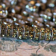 8 mm Aged Silver Czech Champagne Jonquil Yellow Rhinestone Rondelle Spacers - Romantic Shabby Style