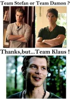 Okay on the vampire diaries I'm team Damon, but I still love Stefan. On the originals I'm team Elijah (if that's even a thing) I still love Klaus, he's so awesome! Vampire Diaries Wallpaper, Vampire Diaries Stefan, Vampire Diaries Quotes, Vampire Diaries Cast, Vampire Diaries The Originals, Joseph Morgan, Memes Lol, Klaus The Originals, Vampire Daries