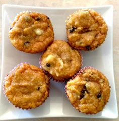 almond flour muffins - Ingredients: 2 ½ cups of almond flour ¼ cup of melted coconut oil  ¼ cup of maple syrup 1 cup of unsweetened applesauce  ½ tsp of baking soda 1 tsp of cinnamon 3 eggs A touch of sea salt ½ cup of chocolate chips Bake @ 350 for 18-20 min