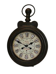 Ceas de perete negru rotund având dimensiunea 52 X 79 cm, idei de cadouri cu personalitate. Pocket Watch, Clock, Wall, Vintage, Accessories, Home Decor, Watch, Pocket Watches, Vintage Comics