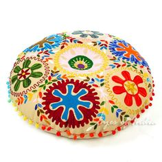"24"" Brown Embroidered Decorative Floor Seating Pillow Cushion Throw Cover Indian"