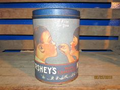 Vintage 1980 Hershey's Kisses A Kiss For You 14 oz Tin Can Canister Container Advertising Advertisement by EvenTheKitchenSinkOH on Etsy