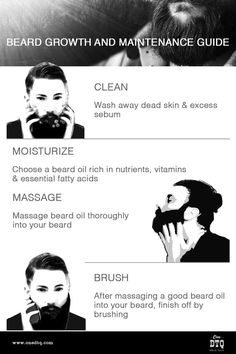 Improve your beard growth. Clean, moisturize, massage, brush. These four simple steps will help you improve beard growth and overcome beard patchiness. Follow them daily and you will free your follicles to sprout into healthy whiskers. It takes a little discipline but five to ten minutes a day will reap big dividends in terms of achieving your healthy beard goals.