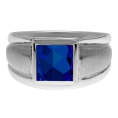 Sterling Silver Men's Square Sapphire Ring Gemologica.com offers a unique selection of mens gemstone and birthstone rings crafted in sterling silver and 10K, 14K and 18K yellow, white and rose gold. We have cool styles including wedding and engagement rings, fashion rings, designer rings, simple stone and promise rings. Our complete jewelry collection of gemstone rings for men can be seen here: www.gemologica.com/mens-rings-c-28_46.html