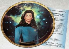 Vintage 1993 Star Trek TNG 5th Anniversary Commemorative Plate Collection: Deanna Troi Limited Edition Hamilton Collection with COA