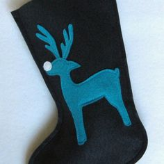 Christmas Stocking  Reindeer in Navy Blue Felt by stitcholicious, $17.00