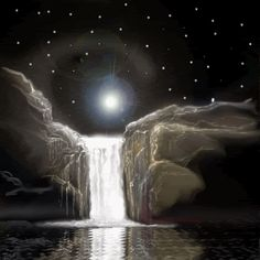 Browse Moonlight pictures, photos, images, GIFs, and videos on Photobucket Gif Bonito, Beau Gif, Waterfall Wallpaper, Witch Room, Les Chakras, Foto Blog, Les Cascades, Good Night Sweet Dreams, Beautiful Gif