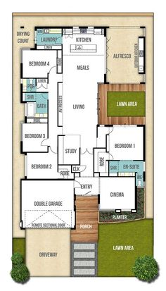Single Storey House Design Plan - The Moore  (4bed, 2bath, 2car)