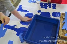 Blue print designs by Teach Preschool Color Activities, Preschool Activities, Teach Preschool, Preschool Colors, Teaching Colors, Water Art, Toddler Play, Play To Learn, Childhood Education