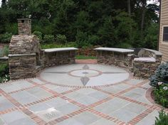 Image result for patios with red brick inlay