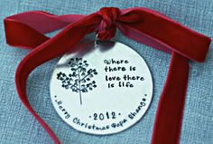 Personalized Ornament Hand Stamped Ornament Christmas Ornament. $21.00, via Etsy.