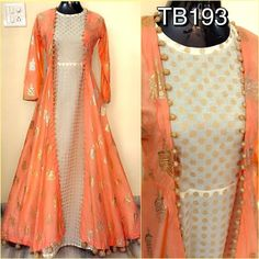 Dresses - Soft silk foil work jacket and chanderi inner with fancy latkans Size Length 58 Rs 3200 Indian Bridal Fashion, Indian Wedding Outfits, Indian Outfits, Party Wear Indian Dresses, Indian Gowns, Indian Attire, Pakistani Dresses, Kurta Designs, Blouse Designs