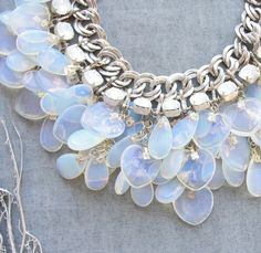 Splendid Bride - Moonstone and Crystal Necklace, Bracelet and Earrings Bridal Set