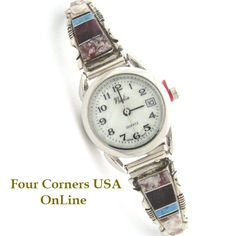 Four Corners USA Online - Women's Crazy Horse Inlay Sterling Watch MOP Face Native American Jewelry Steve Francisco, $107.00 (http://stores.fourcornersusaonline.com/womens-crazy-horse-inlay-sterling-watch-mop-face-native-american-jewelry-steve-francisco/)