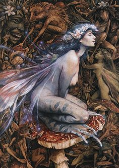 "Brian Froud ""There in the inner realm of Faery, this Frog Queen is surrounded by earthy and watery companions"""
