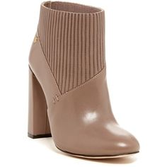 Calvin Klein Klara Bootie (6.890 RUB) ❤ liked on Polyvore featuring shoes, boots, ankle booties, winter taupe, short boots, pull on boots, slip on booties, calvin klein and pull on ankle boots
