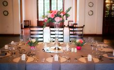 Kleinkaap - large square guest tables - Floral Design & Decor  by www.pinkenergyfloraldesign.co.za Centerpieces, Table Decorations, Floral Design, Table Settings, Pink, Home Decor, Decoration Home, Room Decor, Floral Patterns