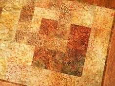 Quilted Batik Table Runner in Shades of Rust Brown by SusiQuilts