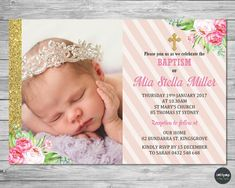 Birthday and Baptism Invitation Wording Inspirational Floral Christening Baptism Invitation Invite Card Baptism Invitation Wording, Christening Invitations Girl, First Birthday Invitations, Birthday Invitation Templates, Personalized Invitations, Custom Invitations, Invitation Ideas, Invites, Baptism Party