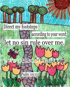 Fine Art Print - Direct My Path DIY Printable Art - 8x10 Print  - Scripture Print - Bible Verse Psalm 119 - Mixed Media Artwork via Etsy