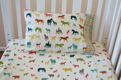 Organic Crib Sheet Set, Organic Toddler Sheet Set, Farm Fresh, Organic Baby Bedding, Organic Toddler Bedding, Farm Animals, Horses, Sheep by DelanoDesignsHome on Etsy