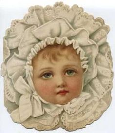 Victorian baby greetings | Baby Lacy Bonnet Victorian Greeting Card
