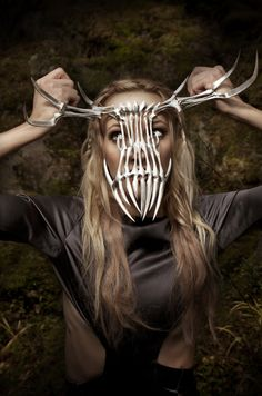 Silver Antler Mask by Eero Hintsanen, photo Ofer Amir, dress Hogan McLaughlin, model Janika NIeminen #faerie