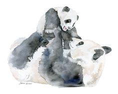 Panda Bears Watercolor Painting 6 x 4 - Giclee Print Reproduction - Nursery Art - Mother and Baby Animals - aqarell - Bear Watercolor, Watercolor Animals, Painting Prints, Watercolor Paintings, Panda Painting, Watercolors, Baby Panda Bears, Baby Pandas, Polar Bears