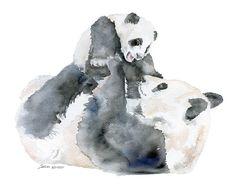 Panda Bears Watercolor - Mother and Baby